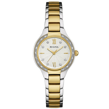 Bulova 98R221 Women's Two Tone Yellow Steel Quartz Silver Dial Diamond Watch