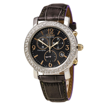 Citizen FB1298-05H Women's Grey Leather Strap Chrono Eco Drive TTG Grey Dial Swarovski Crystal Watch