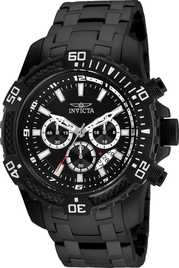 Invicta 24858 Men's Pro Diver Chronograph Black Dial Black IP Steel Bracelet Watch