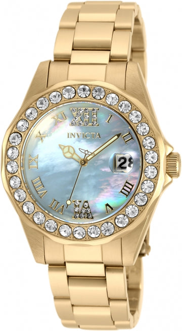 Invicta Women's Bracelet Watch - Sea Base Yellow Gold Steel Light Blue Dial | 20390
