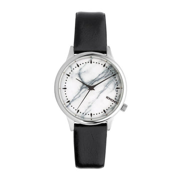 Komono Women's Strap Watch - Estelle Marble Dial Black Leather | KOM-W2474