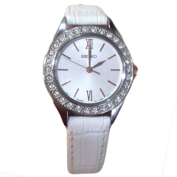 Seiko SXGP35 Women's Classic Silver Dial White Leather Strap Swarovski Crystal Watch