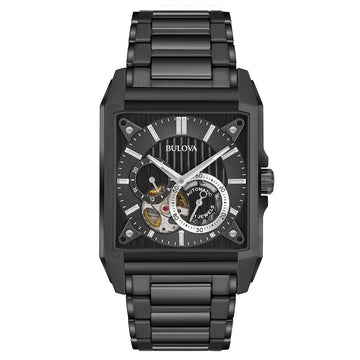 Bulova Men's Automatic Watch - Power Reserve Black Semi-Skeleton Dial | 98A180