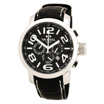 TW Steel TW50 Men's Grandeur Chronograph Black Leather Strap Black Dial Date Watch