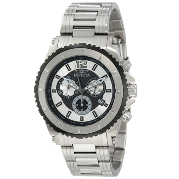 Invicta 1008 Men's Specialty II Silver & Black Dial Stainless Steel Chronograph Watch