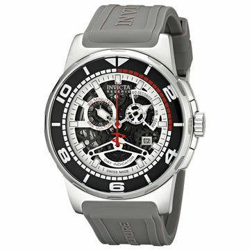 Invicta Men's Reserve Chronograph Watch - Sea Vulture Silicone Strap Skeleton Dial
