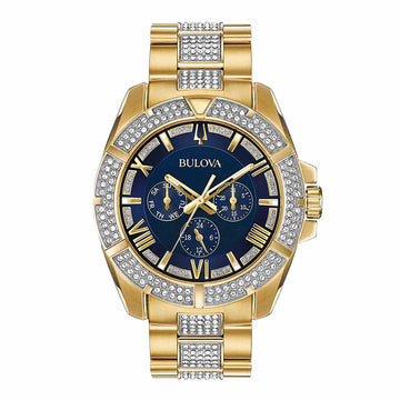Bulova 98C128 Men's Crystal Blue Dial Two Tone Yellow Gold Steel Bracelet Watch