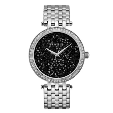 Caravelle 43L199 Women's Crystal Black Rock Crystal Dial Stainless Steel Watch