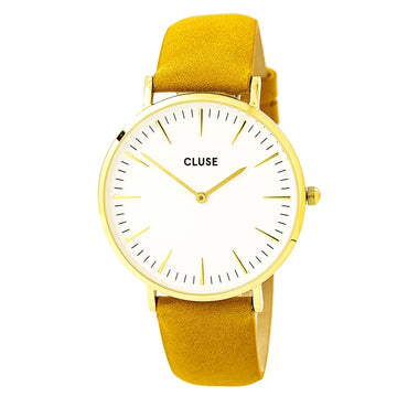 Cluse CL18419 Women's La Boheme White Dial Mustard Leather Strap Quartz Watch