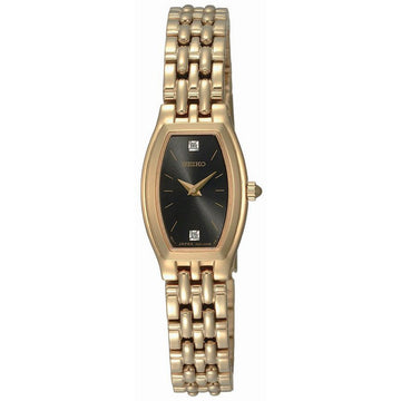 Seiko SUJG18 Women's Dress Black Dial Gold Plated Steel Diamond Watch