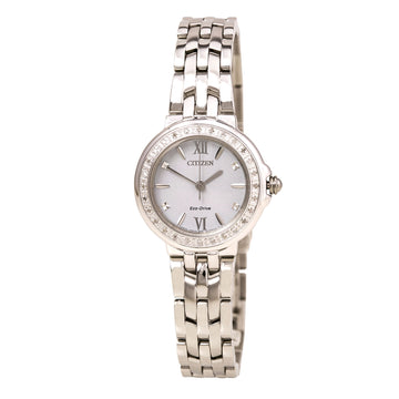 Citizen Women's Diamond Watch - Eco Drive Steel Bracelet White Dial | EM0440-57A