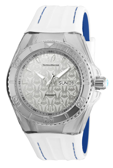 Technomarine Men's Strap Watch - Cruise Monogram White & Blue Silicone | TM-115151