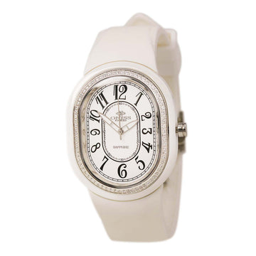 Oniss ON626-L WHT Women's White Ceramic White Rubber Strap Swiss Made White Dial Diamond Watch