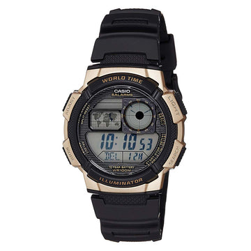 Casio AE1000W-1A3 Men's Black Resin Strap World Time Quartz Grey Dial Digital Watch