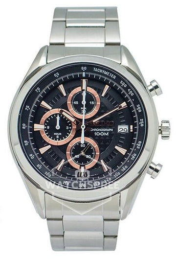 Seiko SSB199P1 Men's Black and Rose Gold Dial Chronograph Watch