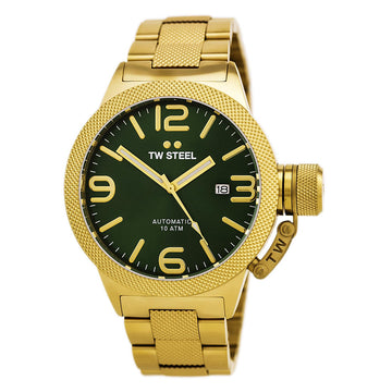 TW Steel CB225 Men's Canteen Bracelet Automatic Yellow Gold Steel Green Sunray Dial Date Watch