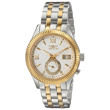 Invicta Men's Two Tone Yellow Gold Steel Watch - Specialty Quartz White Dial | 18101
