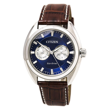Citizen BU4010-05L Men's Paradex Brown Leather Strap Eco-Drive Blue Dial Day Date Watch