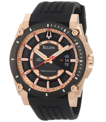 Bulova 98B152 Men's Precisionist Rose Gold Tone Black Rubber Strap Dive Watch