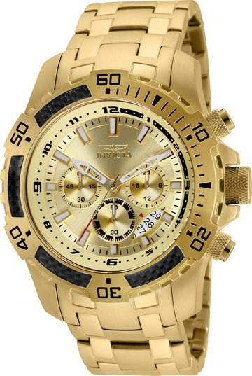 Invicta 24860 Men's Pro Diver Gold Tone Dial Yellow Gold Steel Bracelet Chronograph Watch