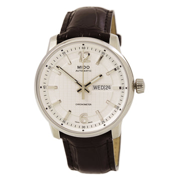Mido M0196311603700 Men's Great Wall Silver Dial Black Leather Strap