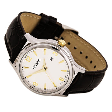 Pulsar PH9073 Men's Traditional Brown Leather Strap Quartz Silver Dial