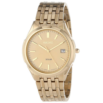 Seiko SNE130 Men's Solar Gold Tone Dial Yellow Gold Plated Steel Bracelet Watch