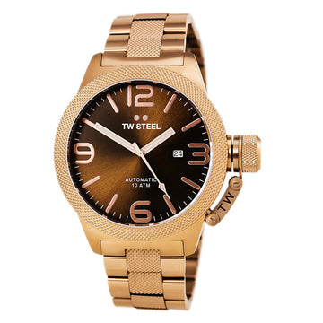 TW Steel CB196 Men's Canteen Bracelet Automatic Rose Gold Steel Brown Sunray Dial Date Watch