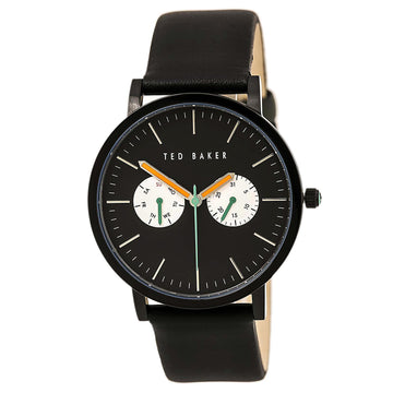 Ted Baker 10009301 Men's Jaknite Quartz Black Leather Strap Black Dial