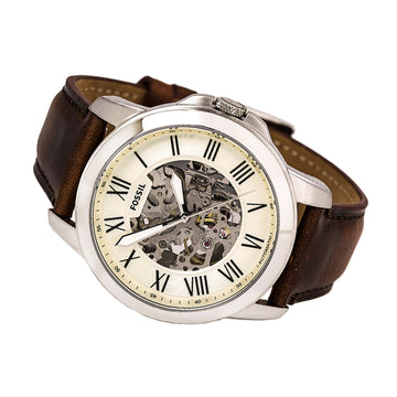 Fossil ME3099 Men's Grant Beige & Silver Semi-Skeleton Dial Dark Brown Leather Strap Automatic Watch