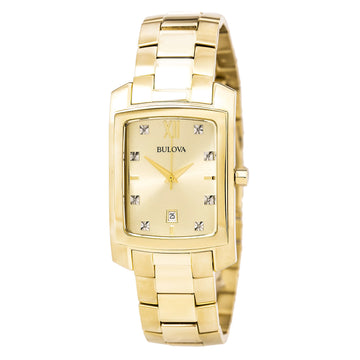 Bulova 97D107 Men's Diamond Accented Champagne Dial Yellow Gold Steel Bracelet Watch