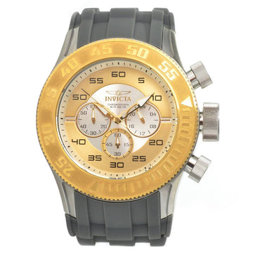 Invicta 14975 Men's Pro Diver Silver & Gold Dial Grey Rubber Strap Chronograph Watch