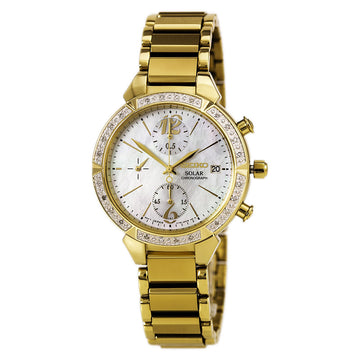 Seiko SSC864 Women's Core Solar Chronograph MOP Dial Yellow Gold Steel Diamond Watch