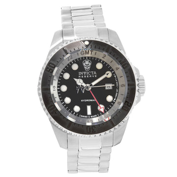 Invicta 16966 Men's Stainless Steel Bracelet Swiss Quartz Reserve Hydromax GMT Black Dial Date Watch