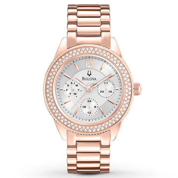 Bulova 97N101 Women's Crystal Silver Dial Rose Gold Steel Bracelet Watch