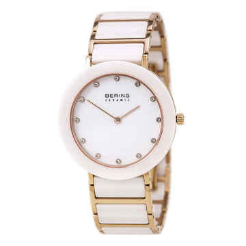 Bering 11435-766 Women's Ceramic White Dial White Ceramic & Rose Gold Steel Watch