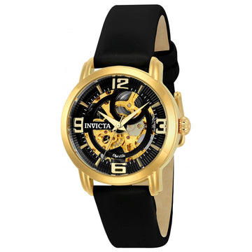 Invicta Men's Automatic Watch - Objet D Art Black & Gold Semi-Skeleton Dial | 22654