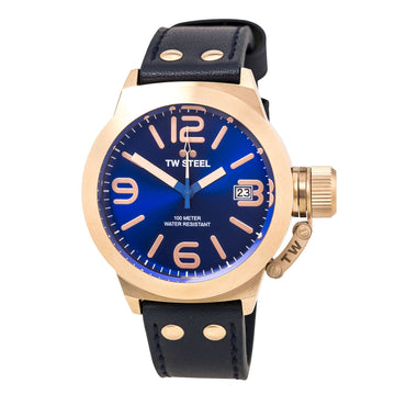 TW Steel CS61 Men's Canteen Leather Blue Sunray Dial Rose Gold Steel Blue Strap Quartz Watch