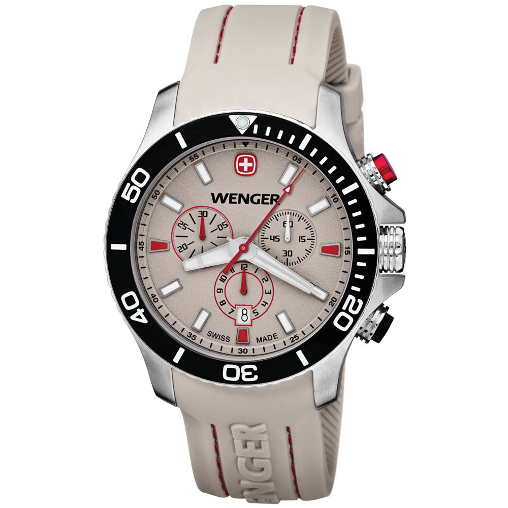 Wenger 0643.105 Men's Sea Force White & Red Dial White Rubber Strap Chronograph Dive Watch