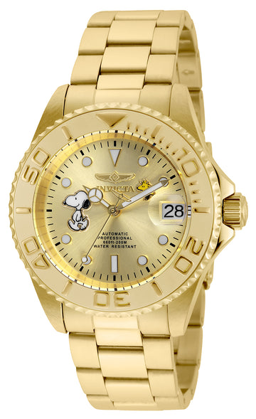 Invicta 24788 Men's Snoopy Character Automatic Champagne Dial Yellow Gold Steel Bracelet Dive Watch