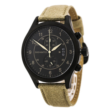 Szanto 1202 Men's 1200 Series Black IP Steel Khaki Canvas Strap Chronograph Black Dial Date Watch