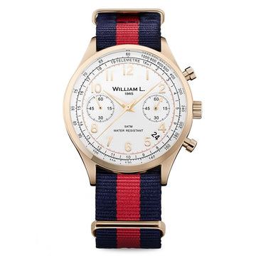 William L. 1985 WLOR01BCORNBR Men's Chronographs White Dial Navy Blue & Red Nylon Strap Watch
