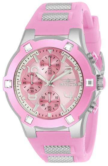 Invicta 24197 Women's BLU Pink Dial Steel & Silicone Strap Chronograph Crystal Watch