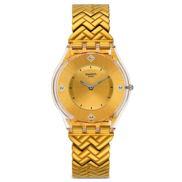 Swatch SFE106G Women's Skin Golden Street Gold Tone Dial Yellow Gold
