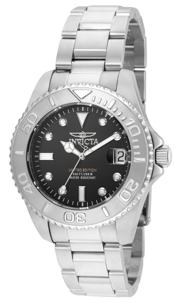 Invicta Women's Steel Bracelet Dive Watch - Pro Diver Quartz Black Dial | 24631