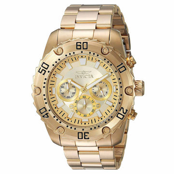 Invicta Men's Chronograph Watch - Pro Diver Gold Dial Yellow Gold Steel Bracelet