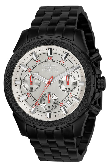 Invicta Men's Chronograph Watch - Signature Silver Dial Black Steel Bracelet | 7098S