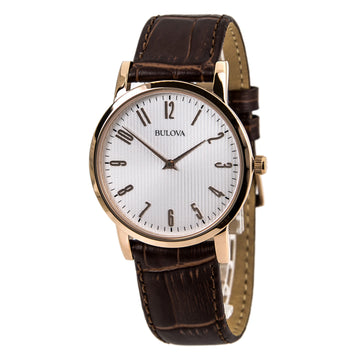 Bulova 97A106 Men's Rose Gold Tone White Dial Brown Leather Strap Watch