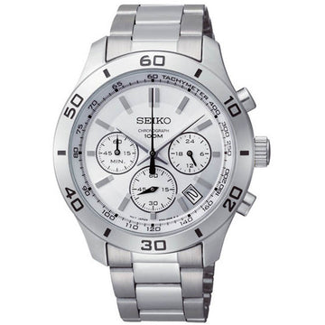 Seiko SSB047 Men's Silver Tone Dial Chronograph Stainless Steel Dual Time Watch