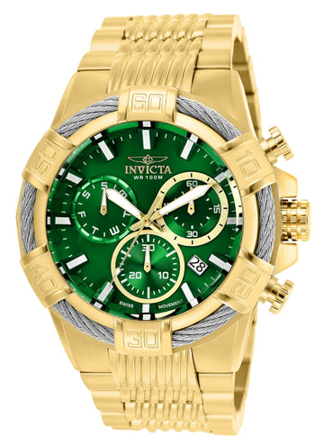 Invicta Men's Chronograph Watch - Bolt Green Dial Yellow Steel Bracelet | 25869